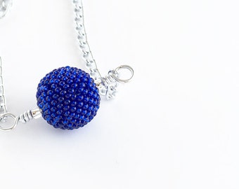 Beaded Bead Necklace // Dark Blue // Seed Beads // Blue Pendent // Beadwork