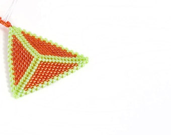 Beaded Triangle Necklace, Orange and Lime Green, Beadwork, Seed Beads