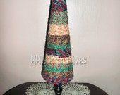 22 Inch Tall Homespun Fabric Rag Tree in Christmas Colors