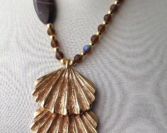 Triple Shell Pendant Necklace