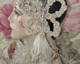Ivory Lace Butterfly Wedding Headband