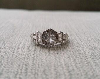 "Antique Diamond Rutilated Quartz Engagement Ring White Gold 1920s Grey Black Gemstone Rustic Bohemian PenelliBelle Exclusive ""The Florence"""