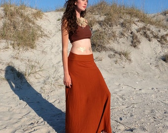 ORGANIC Simplicity Long Skirt - ( light hemp and organic cotton knit ) - organic hemp skirt