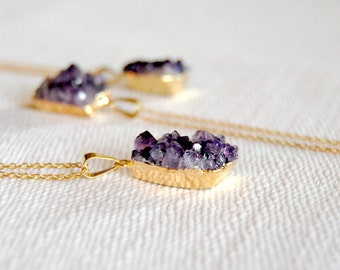 Petite Purple Druzy Pendant - FREE US Shipping