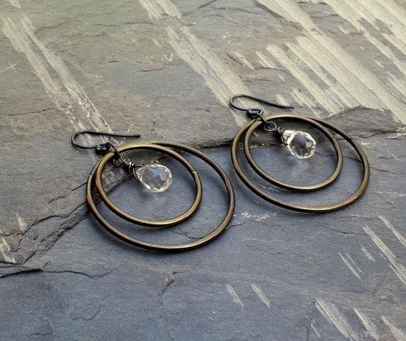 Crystal Quartz Dark Brass Black Hoop Earrings, Rustic Jewelry ViaLove Oxidized Silver Edgy Rustic Clear Crystal Blackened Silver