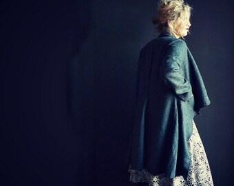 Long Navy/Black Herringbone Tweed Jacket with Cowl Collar and Zip Closure