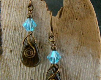 Wire Wrapped Smoky Agate Drop Earrings Antique Copper Wire Blue Crystal
