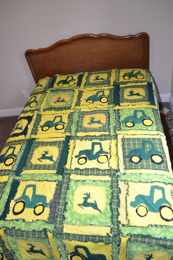 Tractor Sewing Pattern : Items similar to rag quilt tractor twin size blanket in
