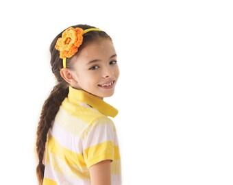 Yellow and Orange Headband Toddler Headband Girls Headband Crochet Flower Headband Yellow Flower Orange Flower Yellow Headband Citrus Spring