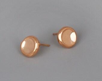 Rose Gold Stud Earrings, Simple Post Earrings, Rose Gold Jewelry, Pebbles Earring, Everyday Earrings, 10mm Stud Earrings, Rose Gold Studs