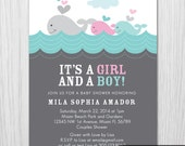Whale theme Baby Shower Invitation - Twins Boy and Girl Baby Shower - Digital File - Printable - Item 146G