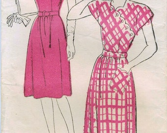 1940s New York 144 FF Vintage Sewing Pattern Misses Afternoon Frock Size 18 Bust 36