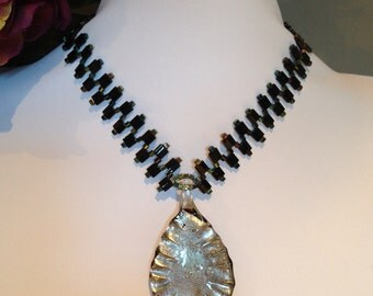 Silver or Black Glass Pendant Zigzag necklace Set (Free Shipping to Canada & USA)