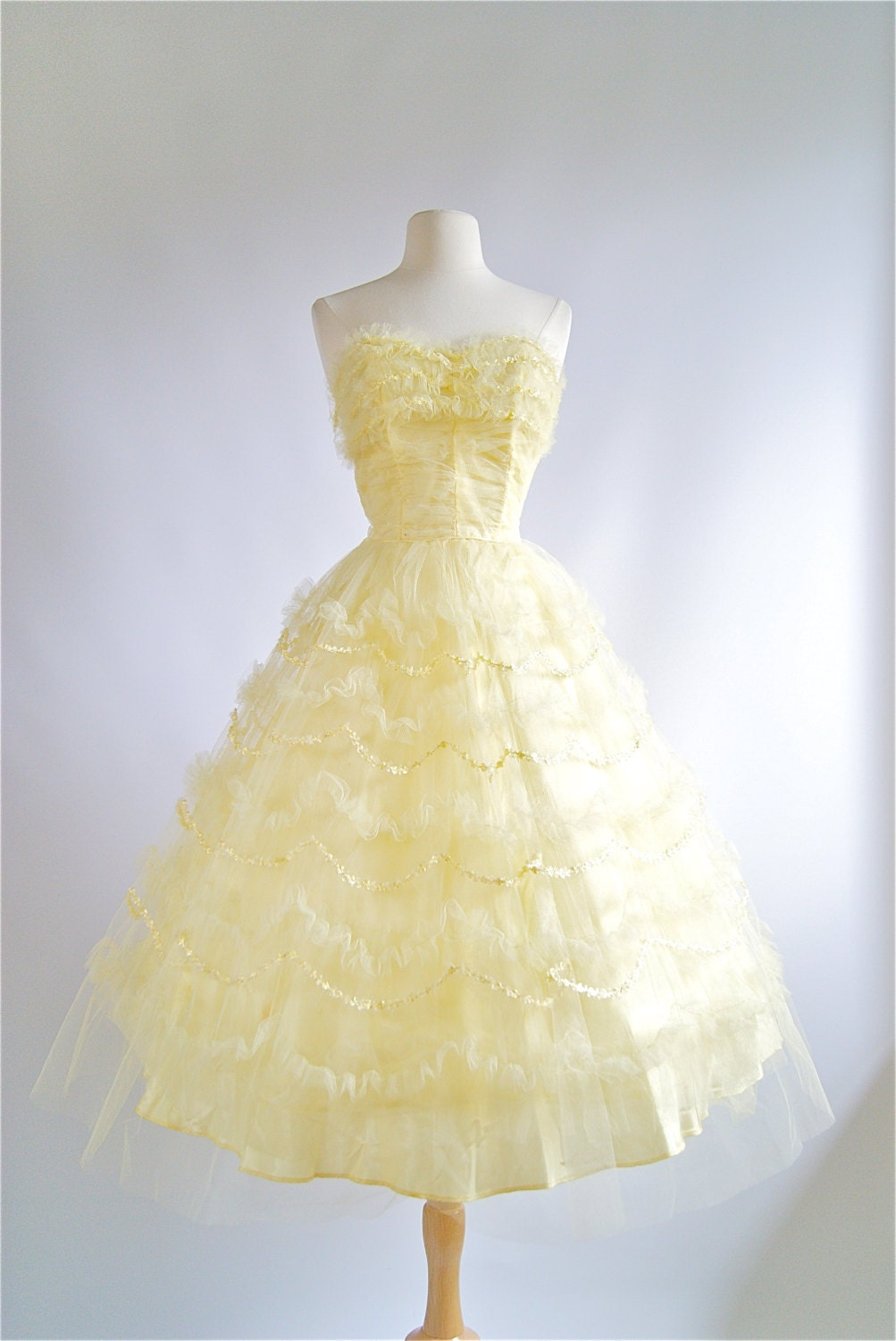 1950 39 s prom dress vintage 50s yellow tulle prom by for Vintage 50s wedding dresses
