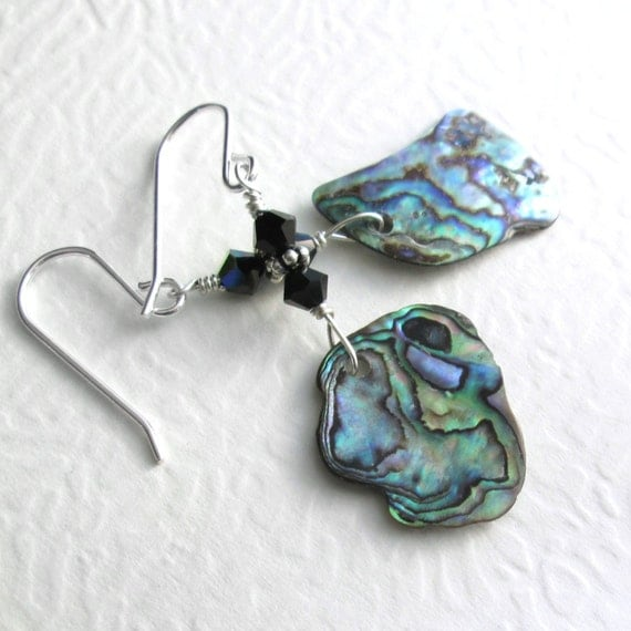 Iridescent Abalone Shell Earrings, Blue Green Paua Jewelry, Black Crystal