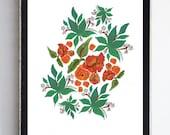 Tropical Floral 8x10 Fine Art Print // flowers print // wall art // wall decor // home goods // illustration // home decor // floral print