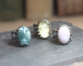Gemstone Ring Antique Brass Filigree Adjustable Ring Green Pink Gold Cabochon Ring Rustic Jewelry Agate Ring