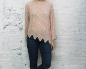 vintage 80s Oleg Cassini blush pink asymmetrical beaded sequin blouse / geometric triangle print