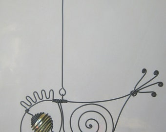 Small Yellow - Eyed Wire Bird Sculpture