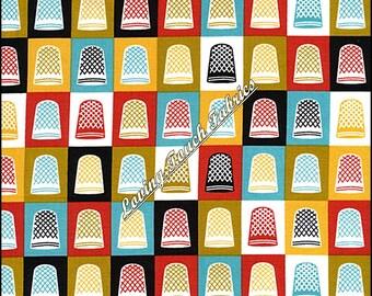 "Cloud 9 ""Mad Mend"" Thimbles #1165 Sewing Theme Organice Cotton Fabric Fat Quarter 18"" x 22"""