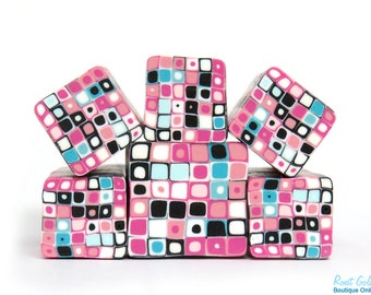 Pinks, Blues , Black & white polymer clay Retro Dots Square cane , raw and unbaked Fimo millefiori cane by Ronit Golan