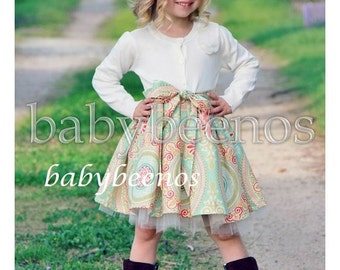 Easter Dress, Girls sweater dress, Girls tulle dress, girls dress, girls Easter dress - LEIGH   - Made to Order - sizes 12M - 8