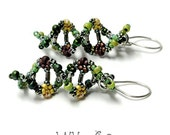 DNA Beaded Earrings in Green Maize Brown Silver