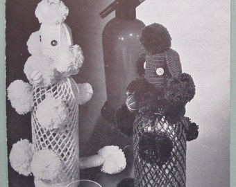 Vintage 1960s Crochet Pattern Coats Party Bottle Covers Poodle Dogs in Cotton 60s original pattern Coats Leaflet 931