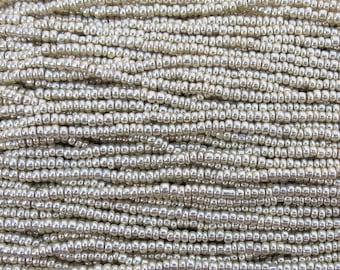8/0 Metallic Silver Czech Glass Seed Bead Strand (CW14)