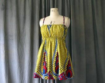 Cute Short Summer Dress, Yellow Print Festival Dress, Summer Casual Summer Dress, Modern African Print Dress,