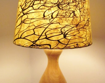 Tree Root Silkscreened Paper Lamp Shade, Drum Lamp Shade, Nepalese Paper Lampshade, Lokta Paper, Washer Top Lamp Shade