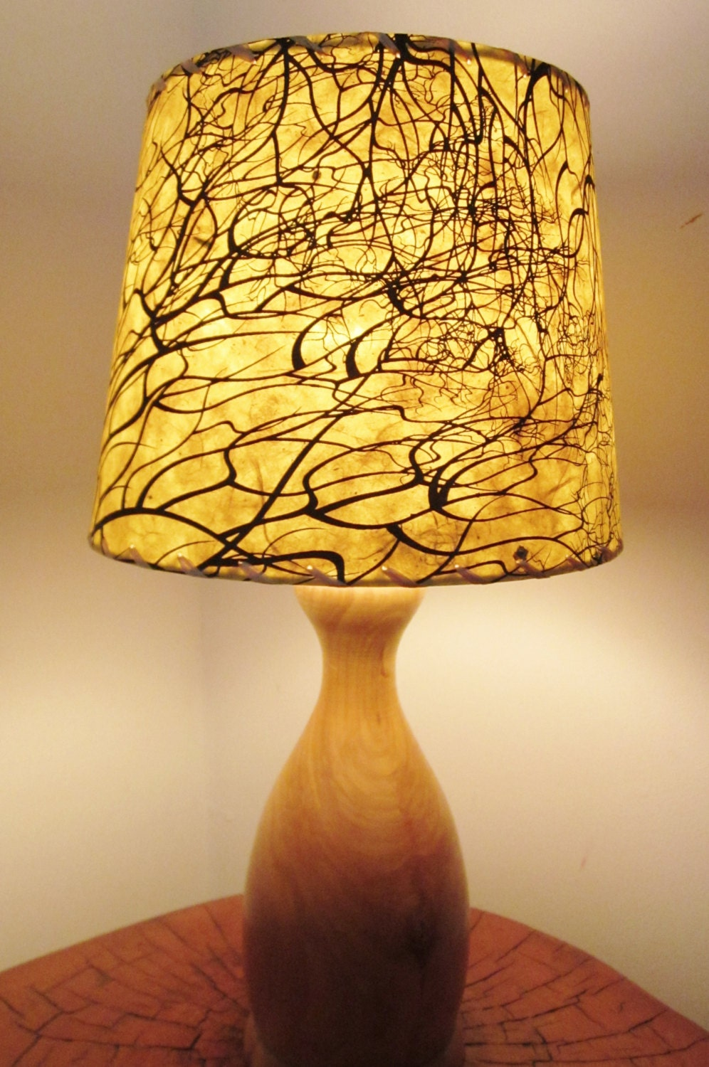 tree root silkscreened paper lamp shade drum lamp shade. Black Bedroom Furniture Sets. Home Design Ideas