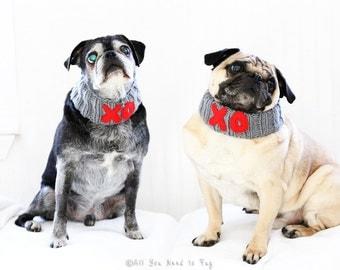 Custom Hugs and Kisses Dog Neck Warmer - Dog Scarf - Knit Dog Collar - Valentine Dog Clothing - Valentine Gift - Dog Engangement Photo Prop