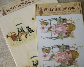Vintage Holly Hobbie Water Transfer Decals and Print in Packages