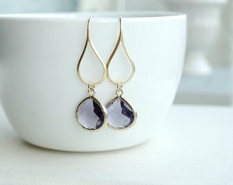 Amethyst Purple Glass Drop Dangle Earrings. Egg Plant and Gold Wedding. Purple Pear Glass Dangle Earring, Bridesmaid Gift. Wedding Earrings