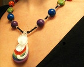 Rainbow Babywearing Mama Pendant Necklace Birth Art Attachment Parenting Mother Jewelry - white