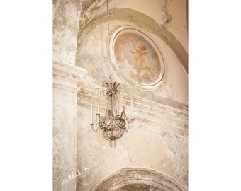 Aged Fine Art Photography Italian Renaissance Church Historic Faded Shabby Chic Chippy opulent Sicily Palermo Catholic Cream plaster cherub