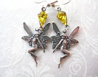 Fantasy Fairy Nymph Swarovski Citrine Crystal Earrings