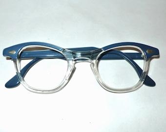 Tart Optical Vintage NOS Blue over Crystal Clear Eyeglass Frame  Vintage 60s Eyewear