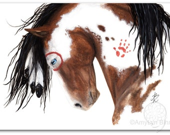 Majestic Horse Spirit Paint Pinto Feathers - Fine ArT Prints by Bihrle mm129