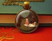 Jewelry for Girls, Girl Necklace, Kids Jewelry, Children's, Photo Jewelry Glass Pendant Gift, Cute, Fairytale - Goldilocks & Three Bears