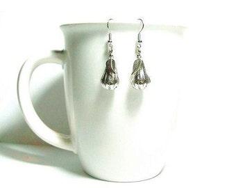 Silver Filigree Pear Dangle Earrings