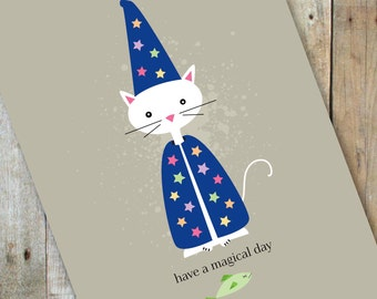 Have a Magical Day Wizard Cat Birthday Greeting Card