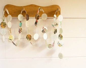 Vintage Paper Circle Garland With Various Printed Illustrations