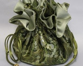 Elegant Olive Green Paisley Satin Brocade--Drawstring Jewelry Travel Tote--Large Size