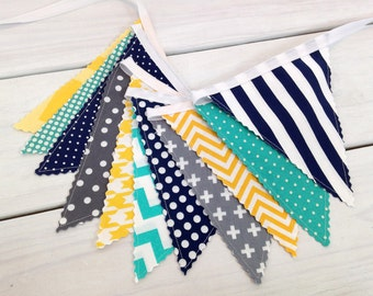 Bunting Banner,Photography Prop,Fabric Flags,Nursery Decor,Birthday Decoration,Home Decor,Gray,Yellow,Turquoise,Navy Blue,Chevron,Grey,Teal