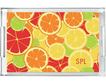 Personalized Lucite Tray - Monogram  Serving Tray - Acrylic Tray for Summer - Lemons and Limes