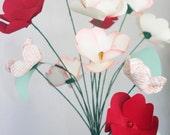 Fluttering Heart Paper Flower Bouquet of 12, Home Decor, Paper Art, Handmade Flowers, Table Decor, Wedding Decoration, Dorm Decor