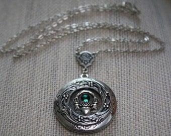 Claddagh Locket Necklace Silver Claddagh Jewelry Photo Locket, Locket Claddagh Necklace Birthstone