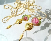 Watermelon Tourmaline Necklace, Gold Lariat, Tourmaline Jewelry Hill Tribe Long Lariat Luxury Heirloom Jewelry Metaphysical Gemstones Magick